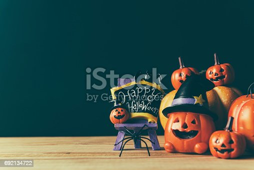 483328044 istock photo Halloween still life with pumpkins and Halloween holiday text 692134722