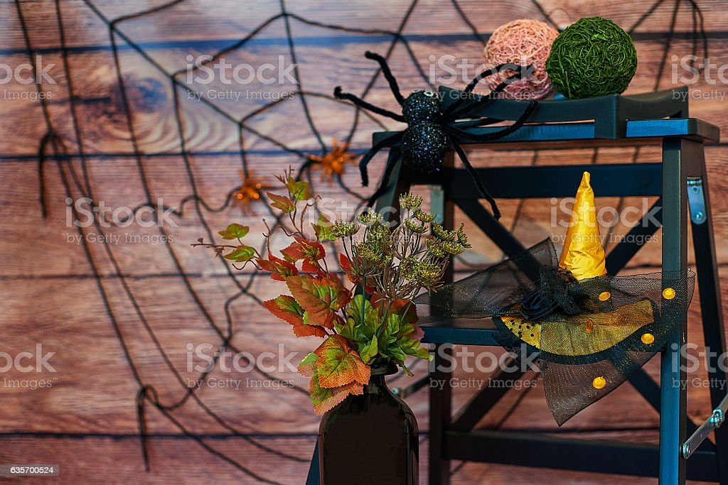Halloween still-life with vase, plant, spider and hat royalty-free stock photo