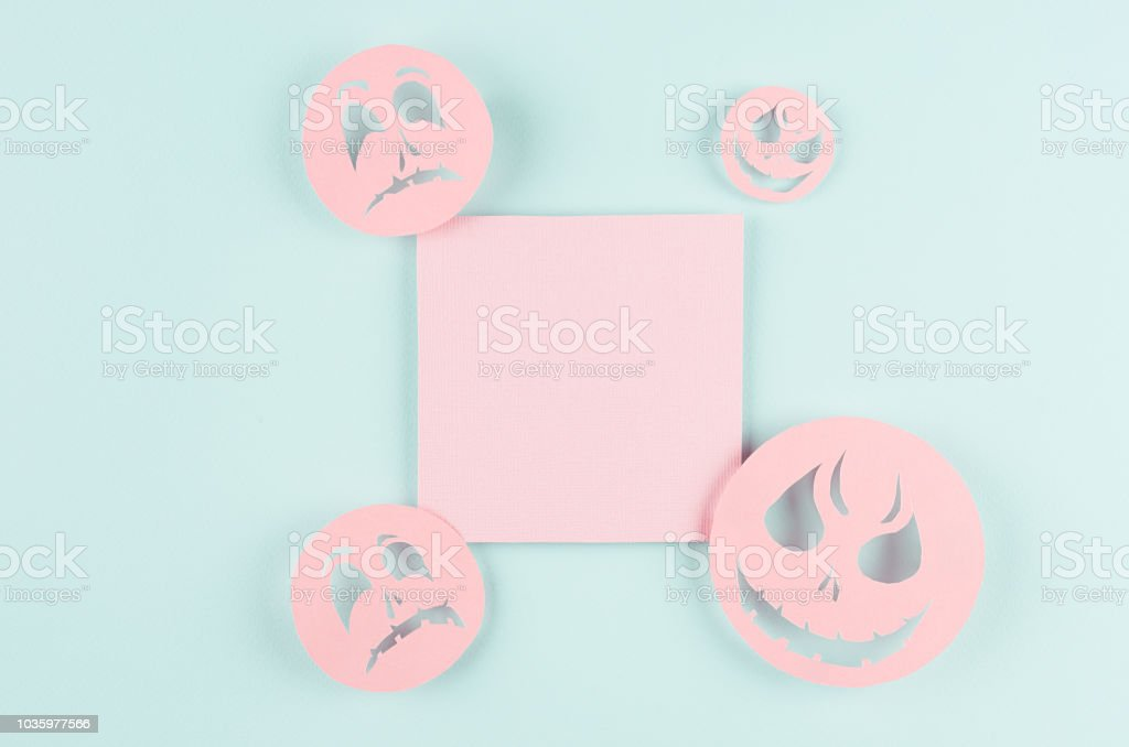 halloween template for design of cut paper trendy pink blank square