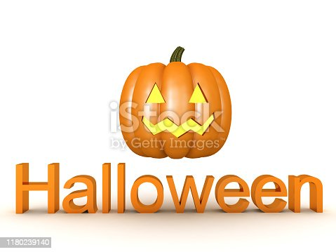 3D Halloween text with jack o lantern on top of it. 3D Rendering isolated on white.