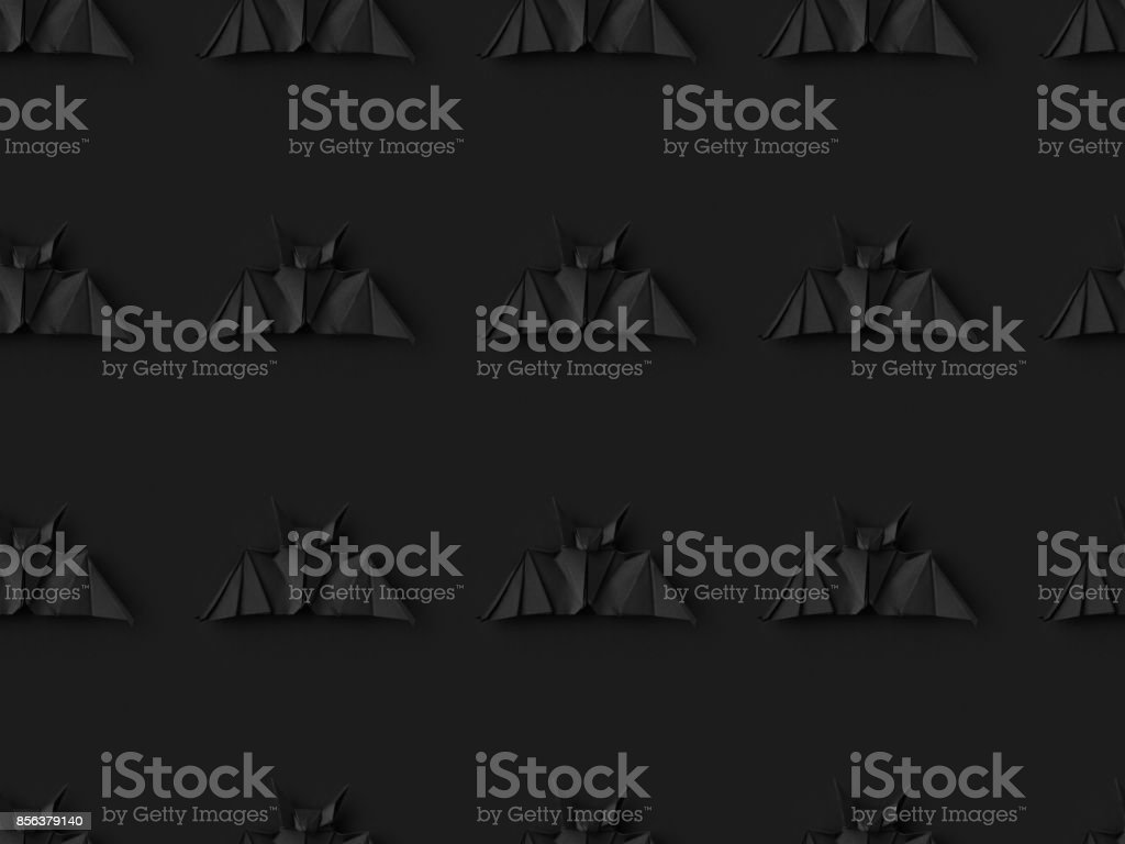 halloween texture with origami bats stock photo