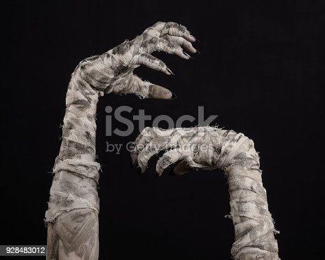 istock Halloween theme: terrible old mummy hands on a black background 928483012