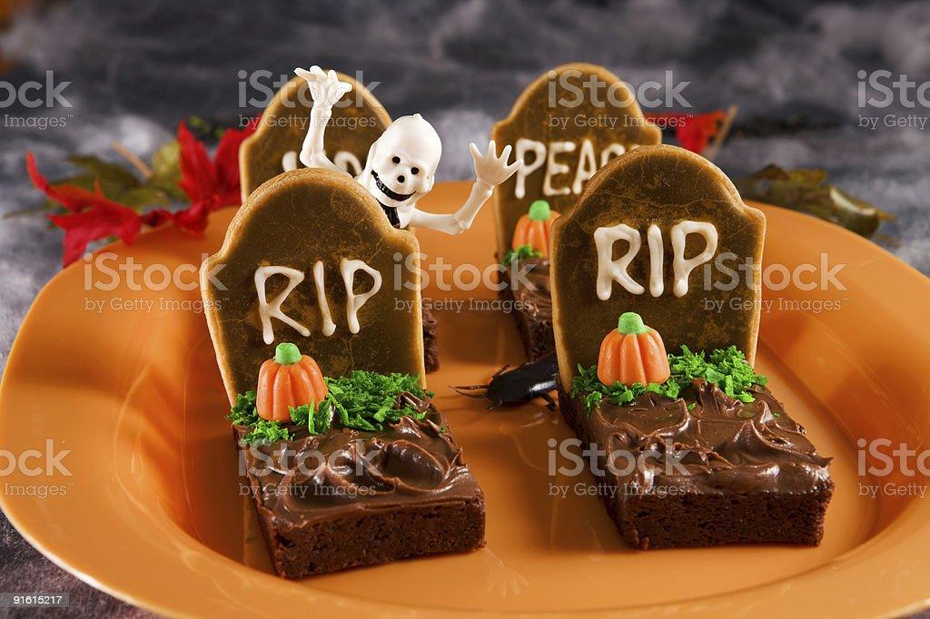 Halloween themed tombstone brownies stock photo
