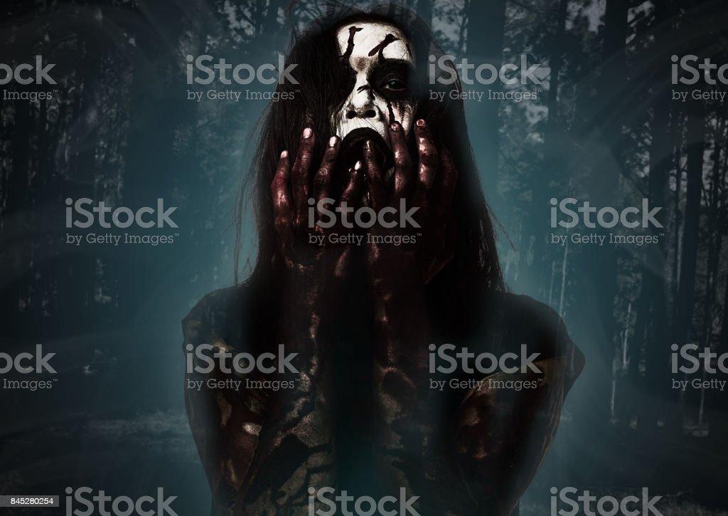Halloween Themeghost Girl Horro In Spooky Dark Forest Stock Photo