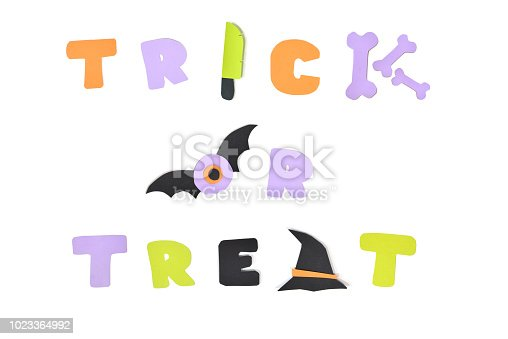 istock Halloween trick or treat text on white background 1023364992