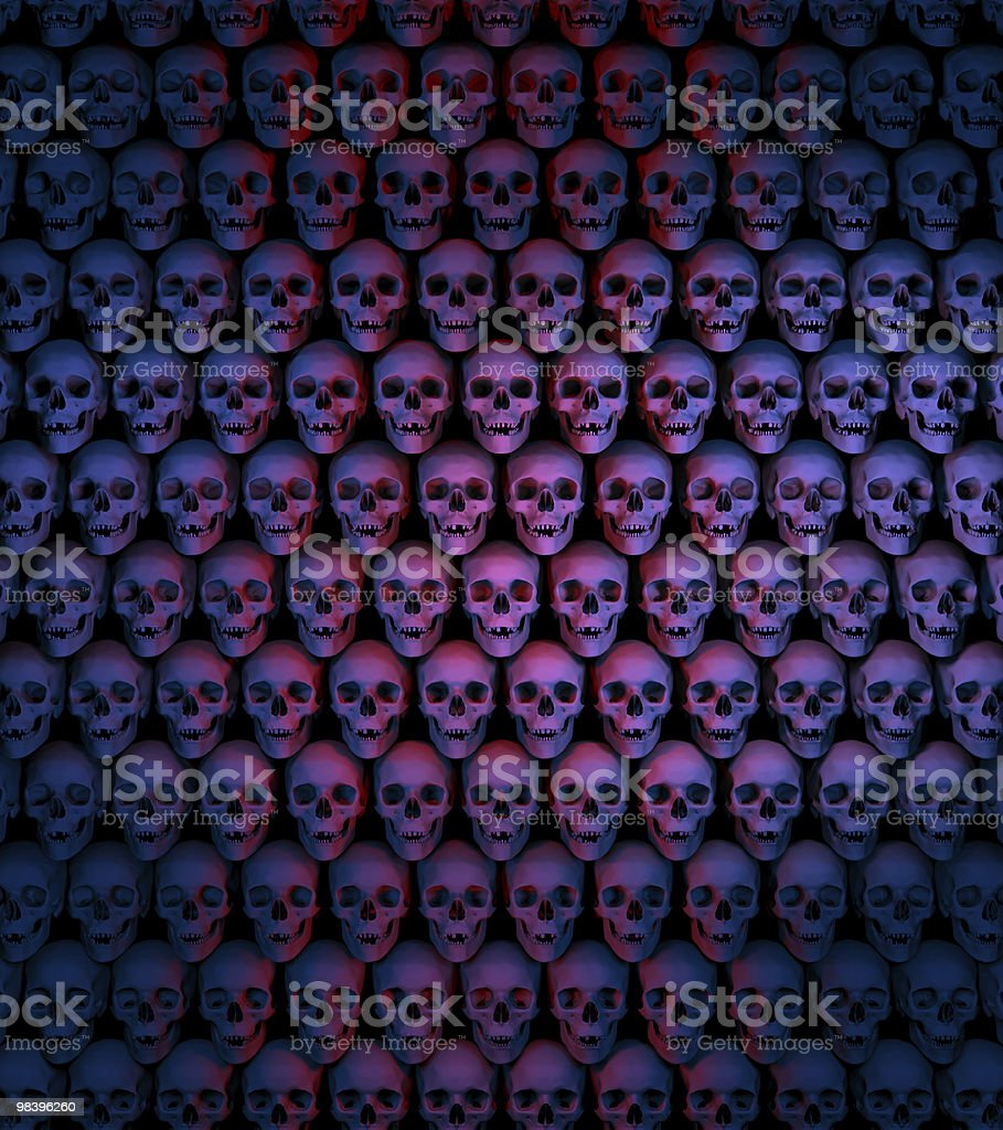 Halloween, Wall of Skulls, 3D rendering. royalty-free stock photo