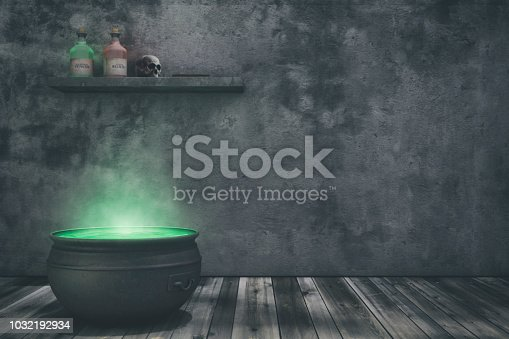 A witch's cauldron bubbling in her home with bottles of potions, skulls, and spell book on the shelf in the background with copy space.