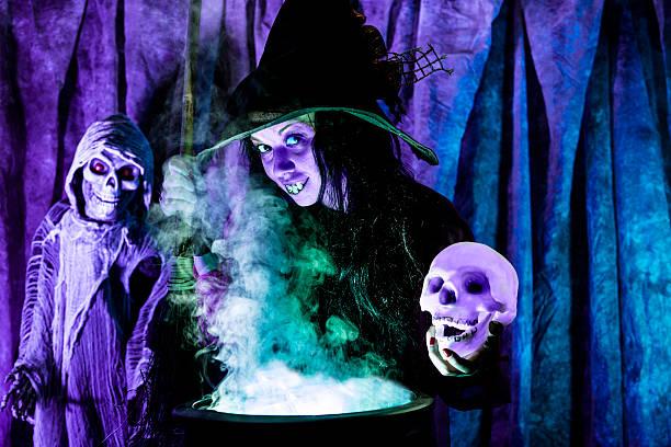 Halloween: Bruja cocinar su cerveza para los huéspedes especiales.  Cráneo. - foto de stock