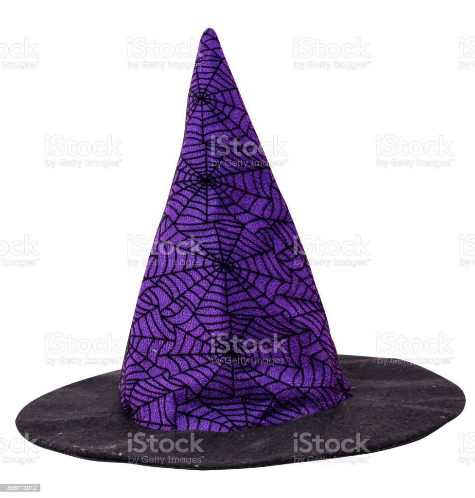 Halloween, witch hat isolated on white with path stock photo