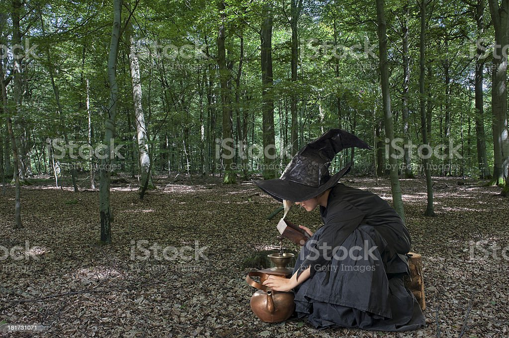 Halloween witch outdoors in the woods royalty-free stock photo