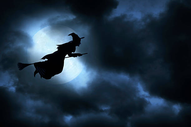 Halloween Witch Witch flying on broom on spooky Halloween night.To see more of my Halloween images, click on the link below: broom stock pictures, royalty-free photos & images
