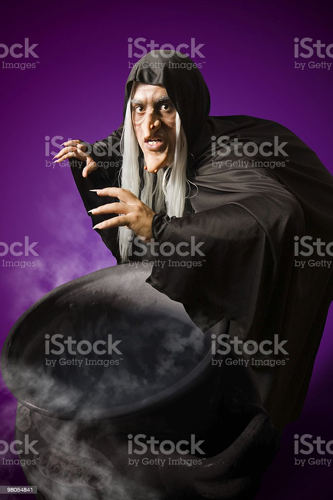 Halloween Witch with her cauldron royalty-free stock photo