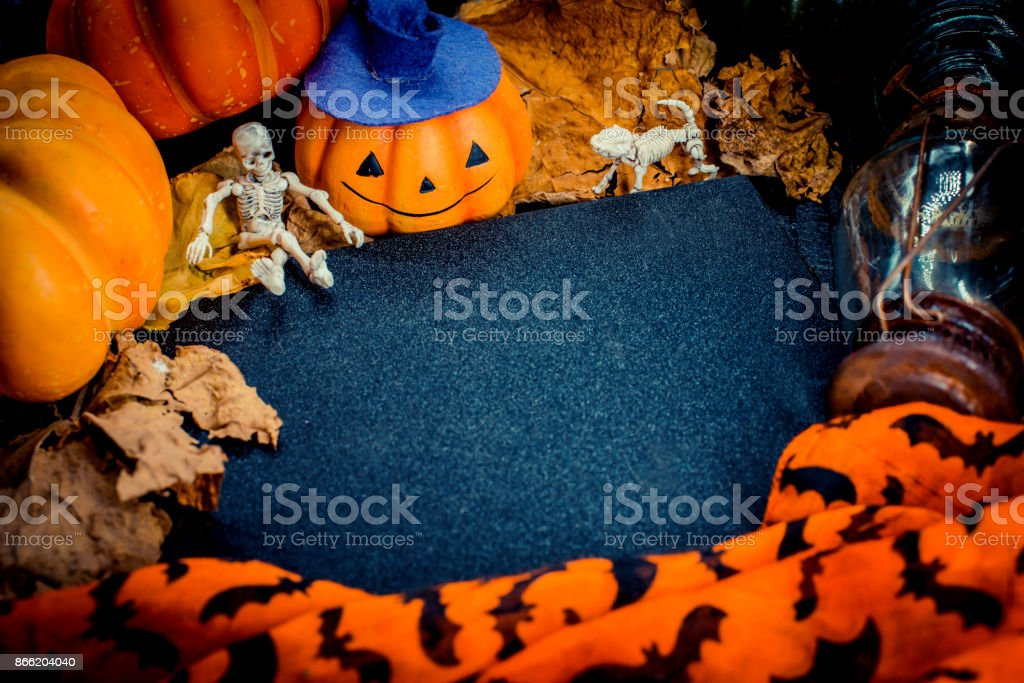 Halloween with copy space and pumpkin stock photo