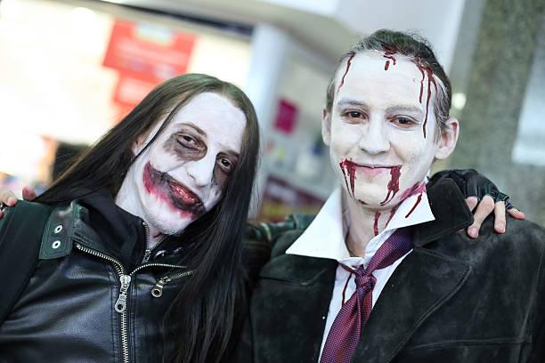halloween, zagreb, croatia. - dracula schminken stock-fotos und bilder