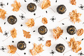 Hallowen decorations, black pumpkins on white background. Halloween concept. Flat lay, top view