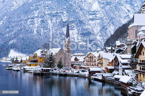 Hallstatt and Hallstatterr See Mountain Lake Winter Day View, Alps, Austria