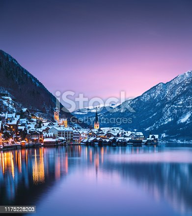 Colorful winter evening in idyllic Austrian village Hallstatt.