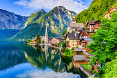 Hallstatt, Austria. Mountain village in the Austrian Alps at sunrise.