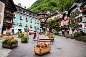 Traditional houses in the old market square (Marktplatz) Hallstatt, part of Dachstein-Salzkammergut Cultural Landscape, a World Heritage Site in Austria