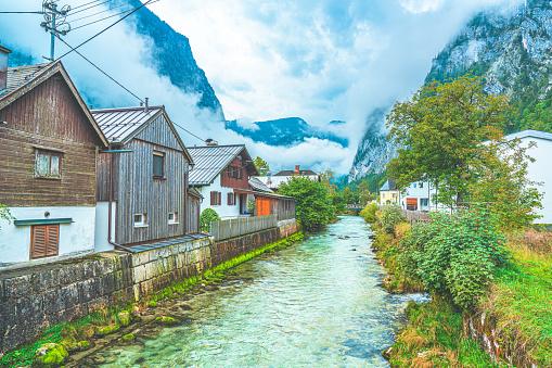 Hallstatt Austria traditional wooden austrian houses