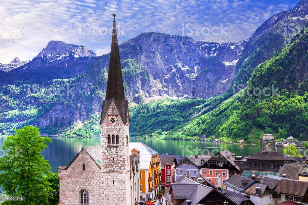 Hallstatt  - beautiful fairy village on lake in Austria stock photo