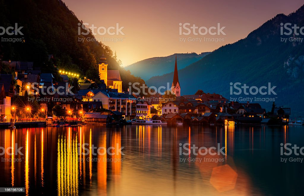 Hallstatt by night royalty-free stock photo