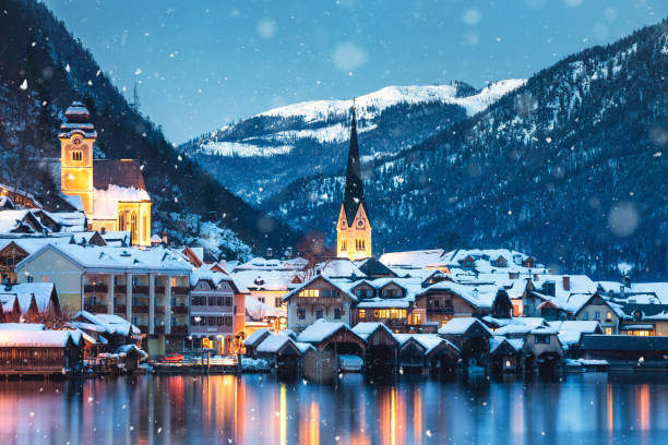 Hallstatt In Winter stock photo