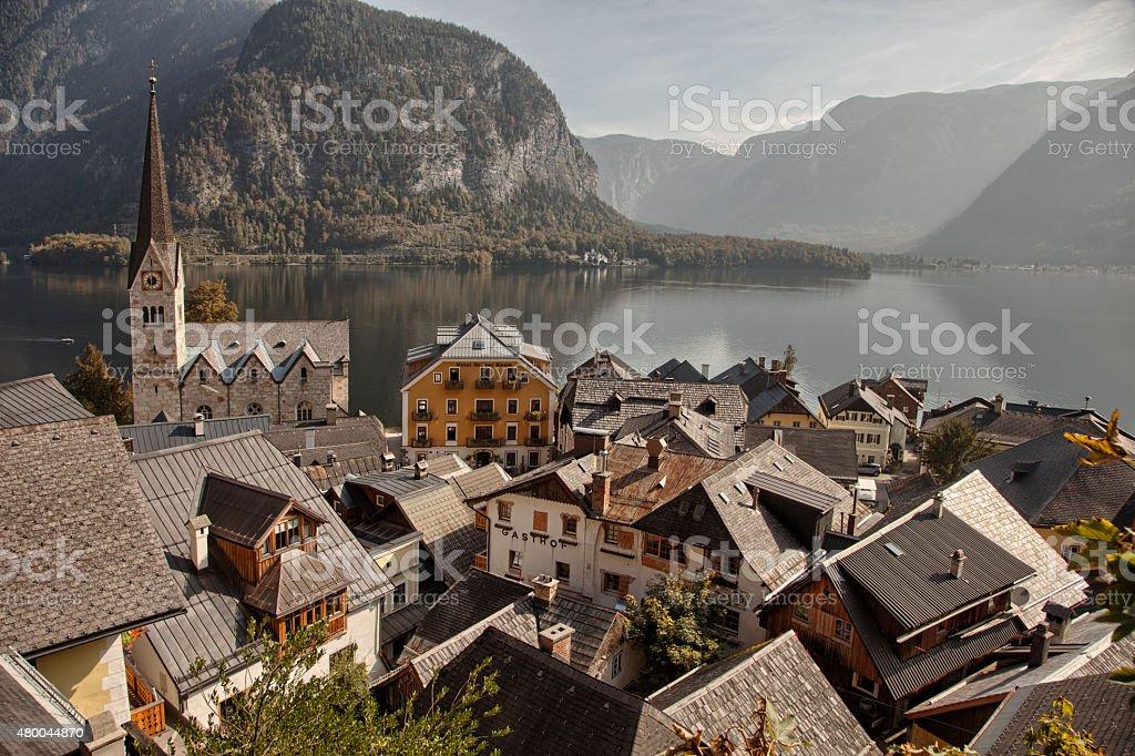Hallstatt lake and town, Salzkammergut, Austria stock photo