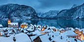 Tranquil winter evening in idyllic Austrian village Hallstatt by Hallstatter See.