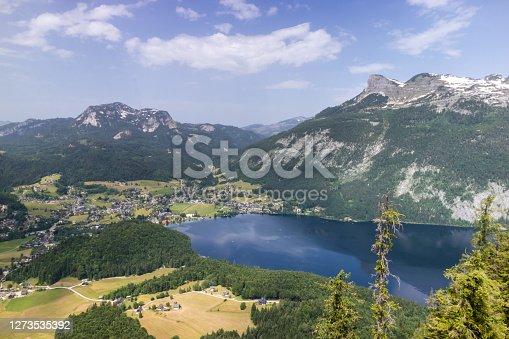 istock Hallstatt small town as postcard view on lake side 1273535392