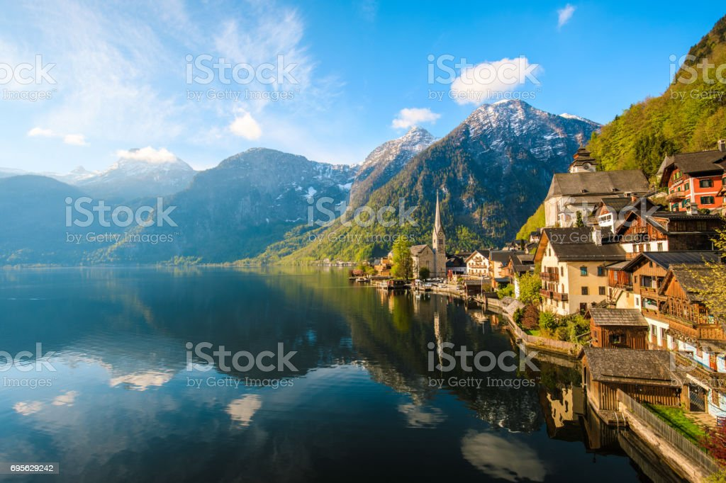 Hallstatt Village and Hallstatter See lake in Austria stock photo