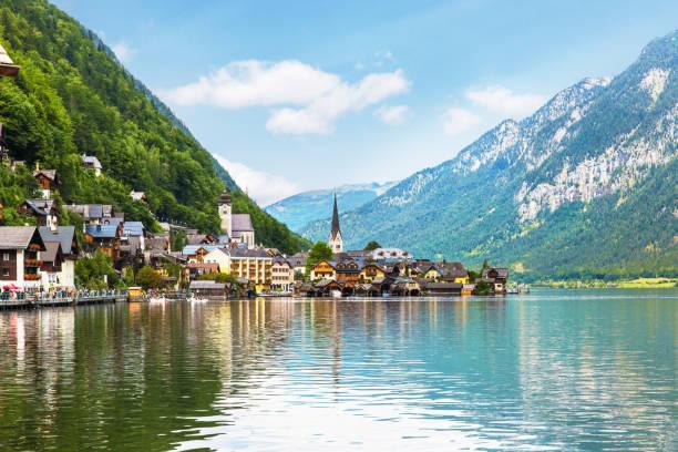 Hallstatt Village and Hallstatter See lake in Austria stock photo