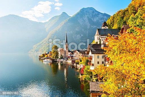 Famous Hallstatt village in Austrian Alps. Beautiful autumn landscape