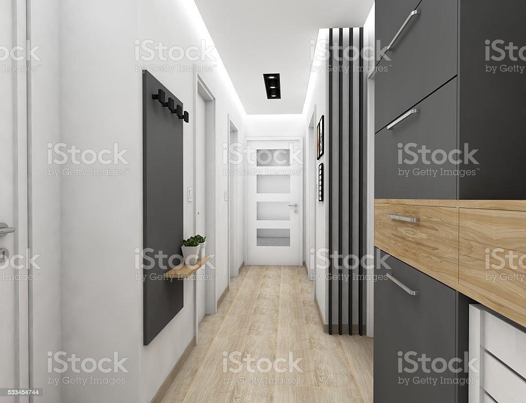 3D hallway design stock photo