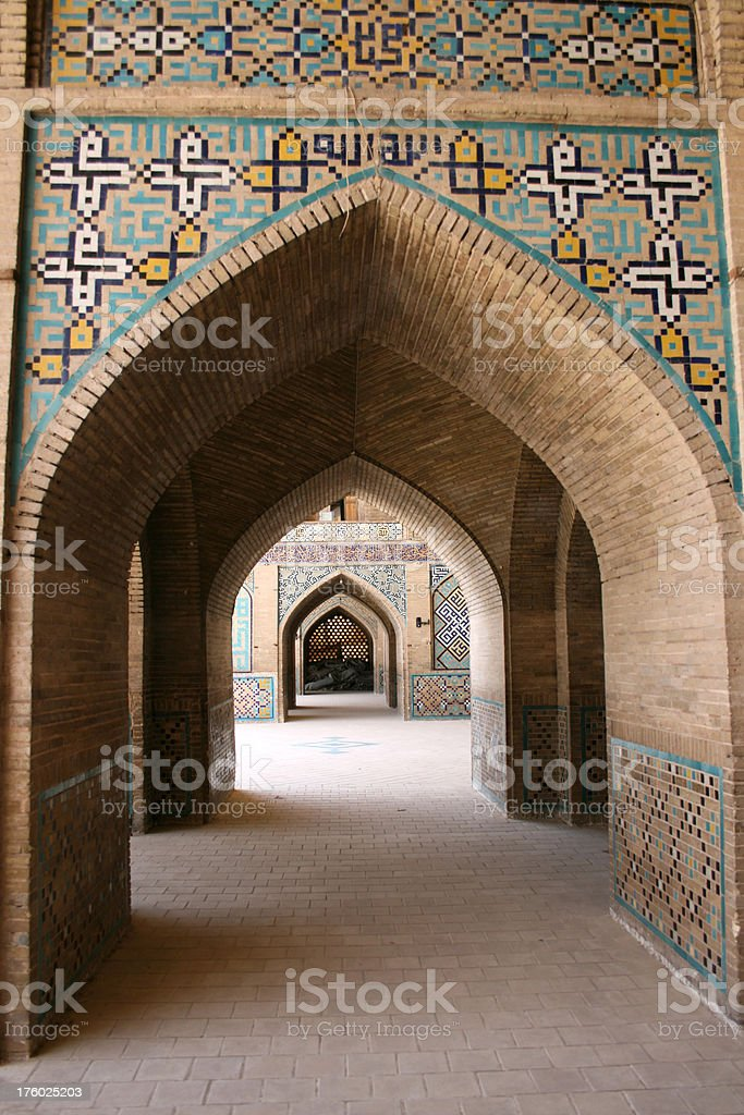 Hallway in a mosque Iran royalty-free stock photo