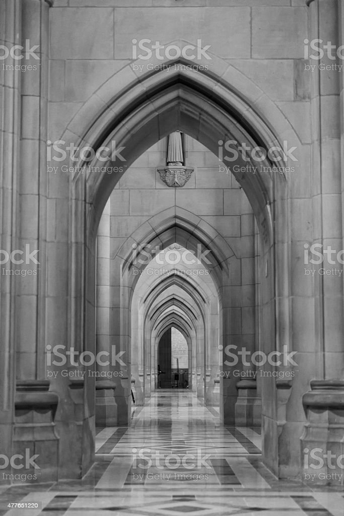 Hallway in the National Cathedral stock photo