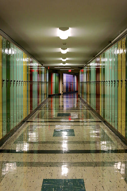 Hallway Lined with Lockers stock photo