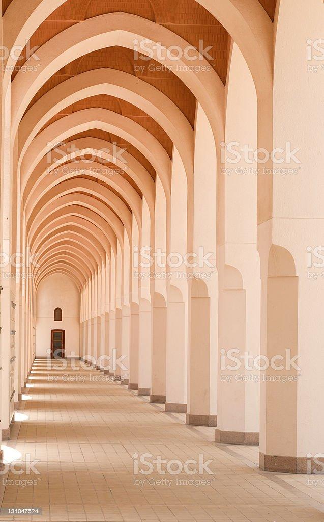 Hallway of a mosque in Bir Ali, Medina, Saudi Arabia. royalty-free stock photo