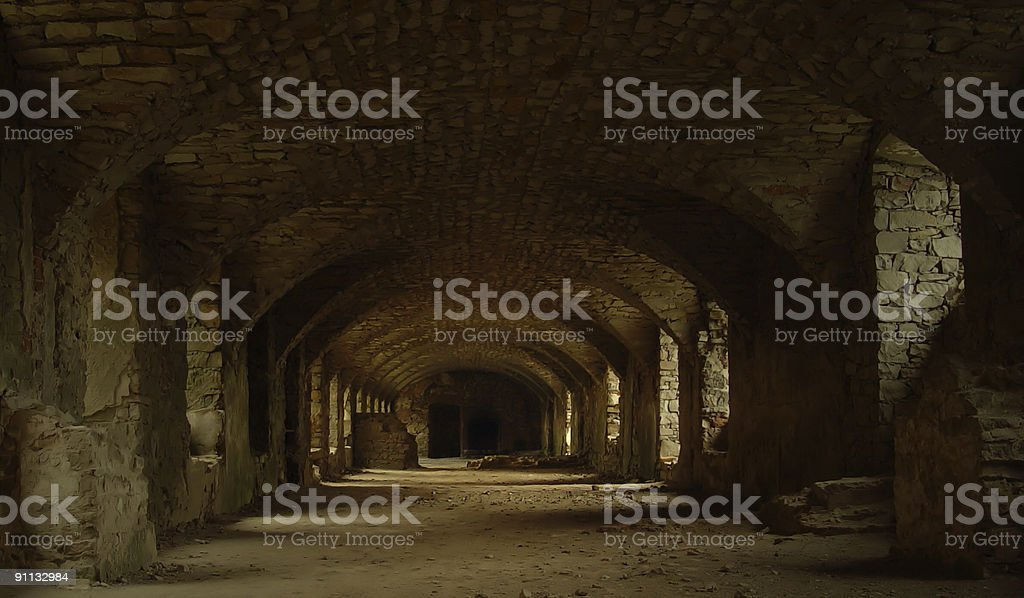 Hallway or tunnel in an abandoned castle  royalty-free stock photo