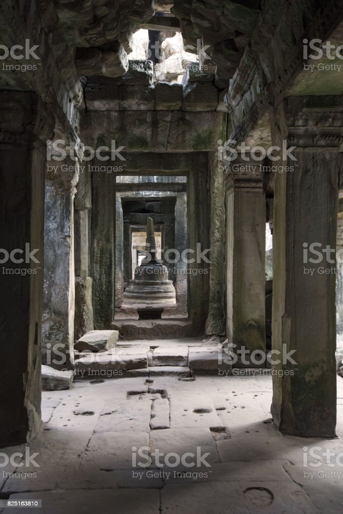 Hallway with columns in the jungle temple stock photo