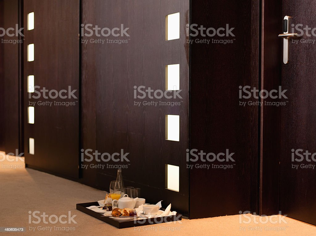 Hallway with room service tray in hotel stock photo