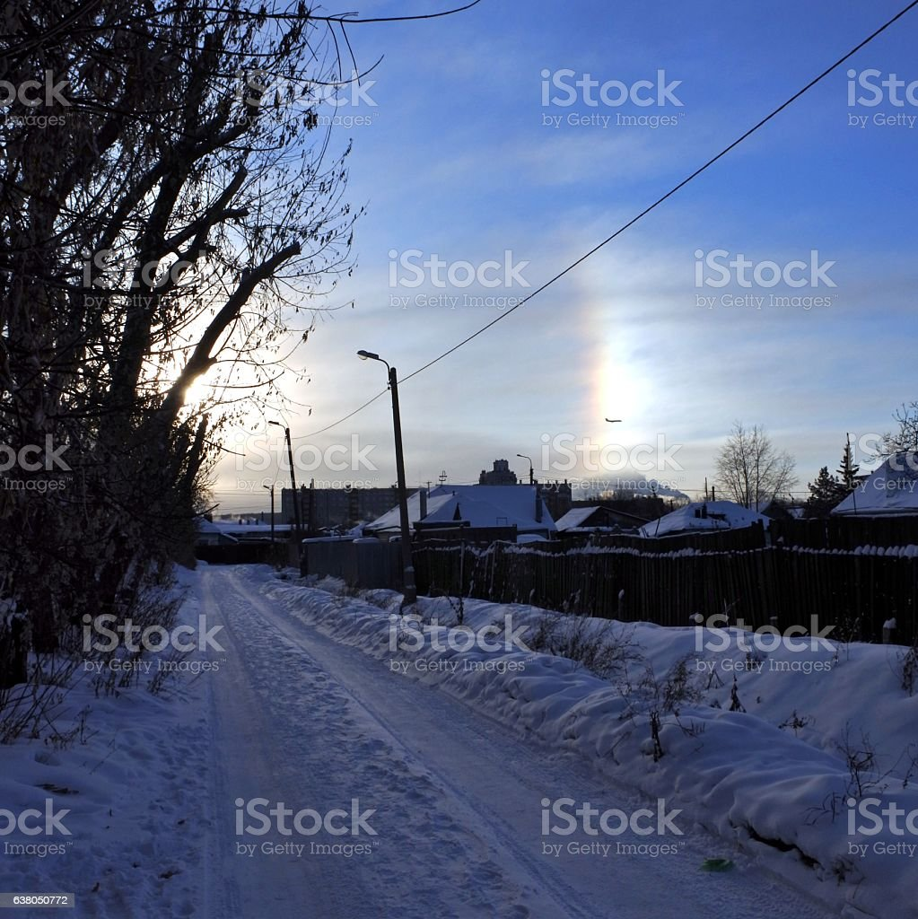 Halo effect of sun in South-Ural region, Russia. stock photo
