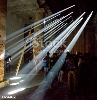 Halo of lights to welcome people to the 2016 architecture Biennale in Venice