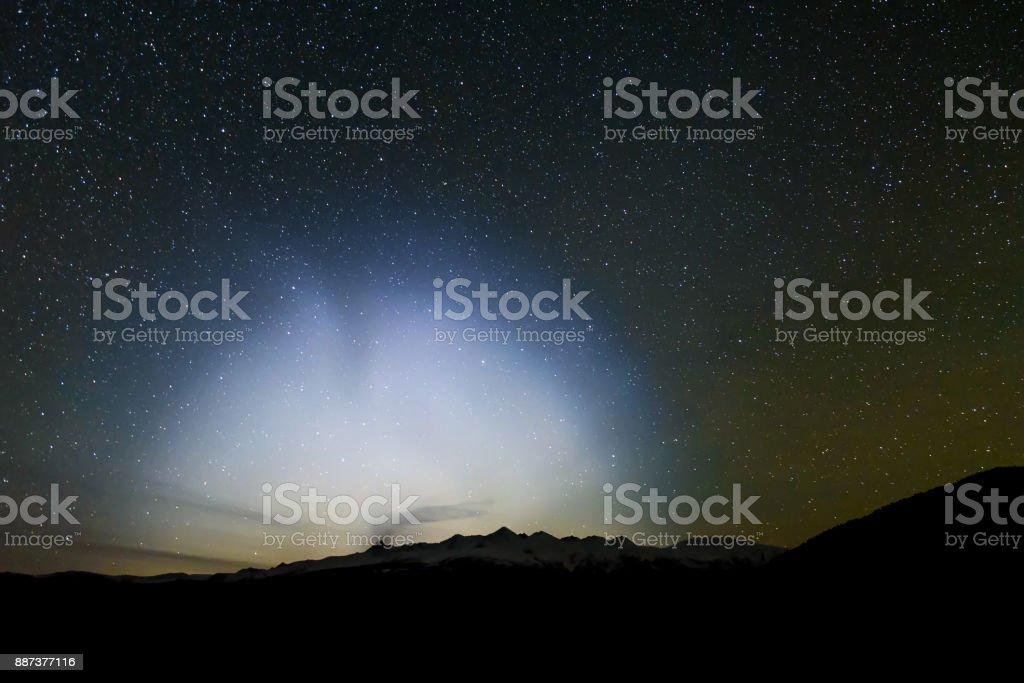 halo star mountain night ufo sky stock photo