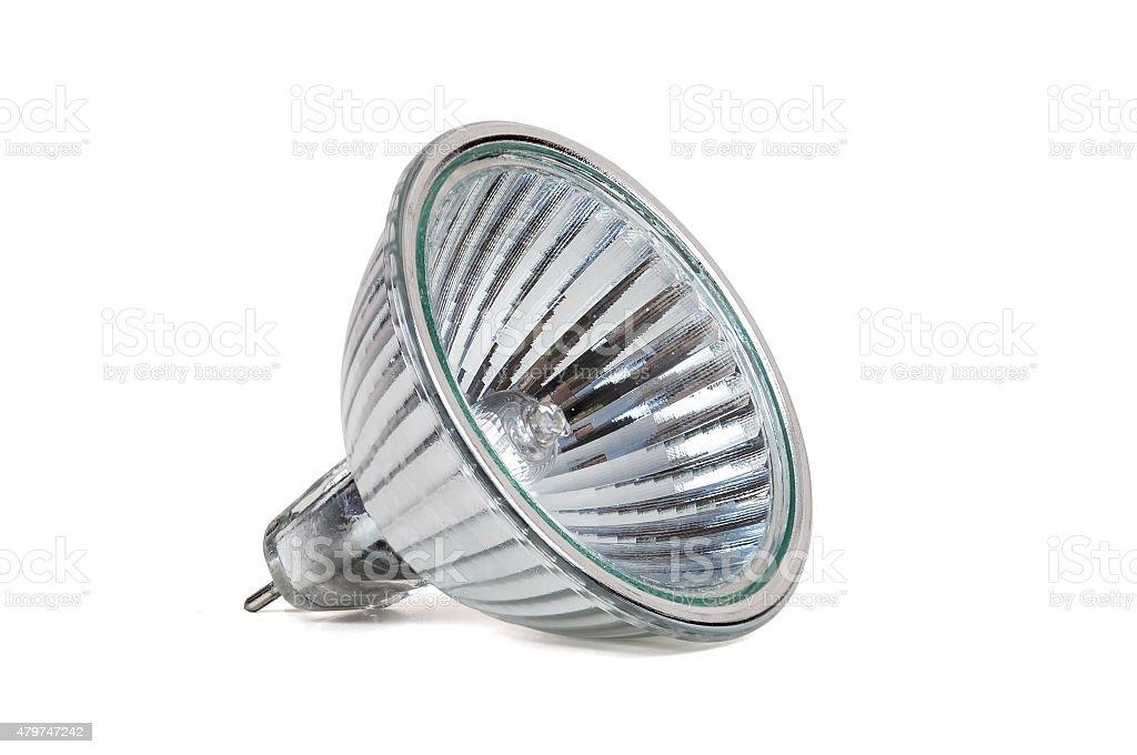 Halogen lamp isolated on white background stock photo