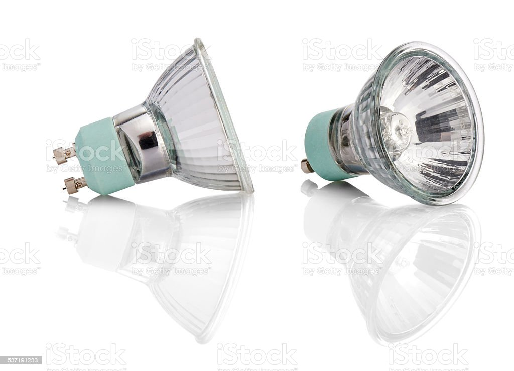 Halogen Lights bulb with path stock photo