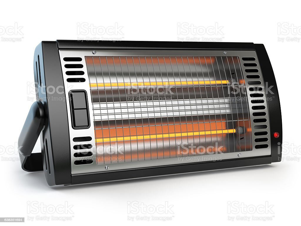 Halogen or infrared heater isolated on white background. stock photo
