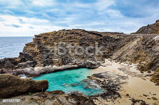 beautiful halona beach cove on oahu island, hawaii islands.