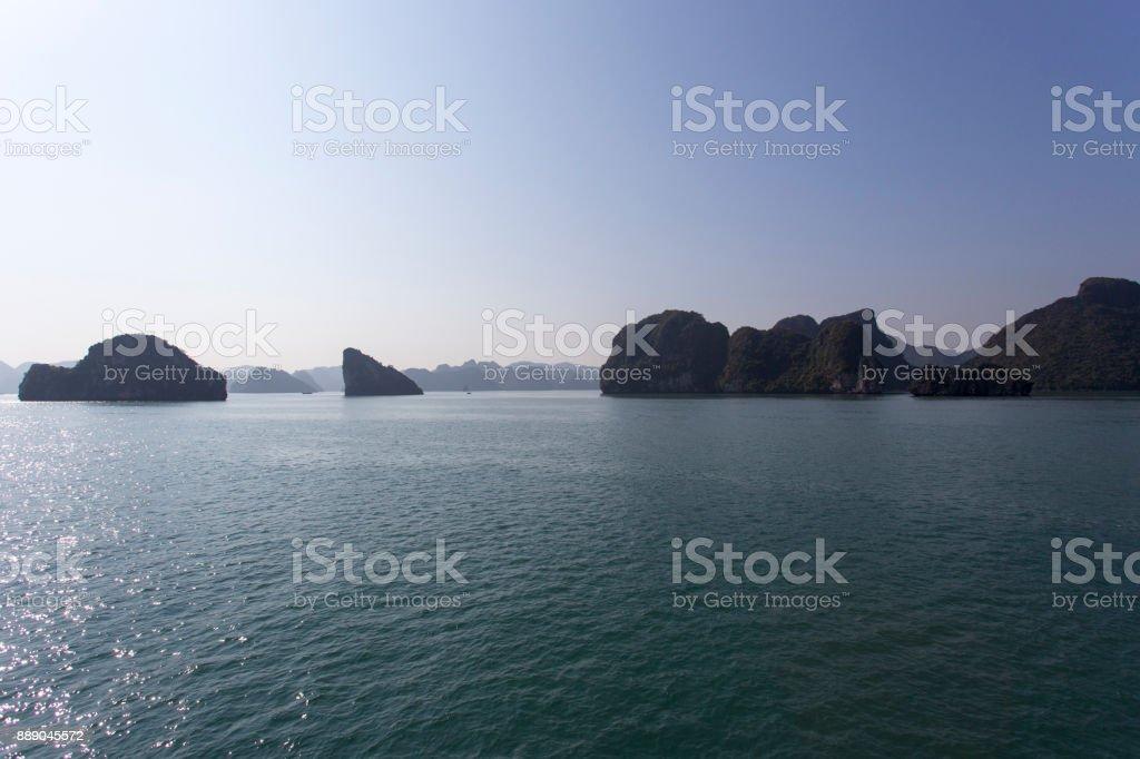 Halong Bay during winter, Vietnam stock photo