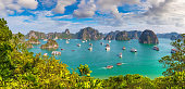 Panorama of Halong bay, Vietnam in a summer day